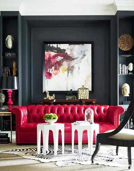 优雅红色客厅皮质沙发