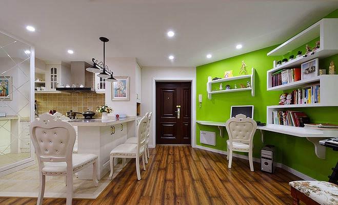 美式风格两室一厅绿色90平米装修效果图图片