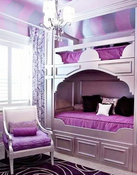 紫色优雅双人儿童房