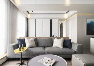 灰色系现代简约风客厅 布艺沙发图片