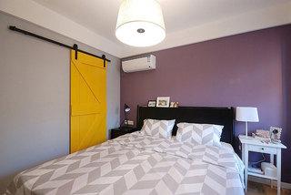 简欧波普风卧室 紫色背景墙设计