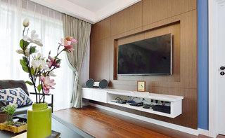 现代简约风客厅 咖色系电视背景墙设计