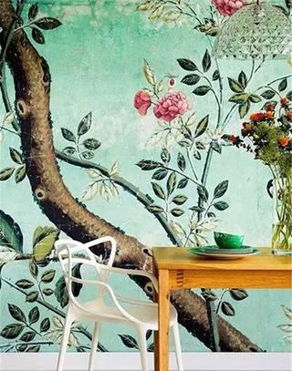 绿色餐厅壁纸效果图