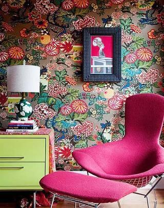 花样壁纸装饰客厅背景墙效果图