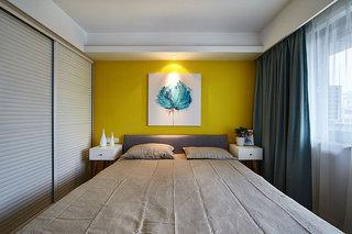 时尚现代简约风卧室 黄色背景墙设计