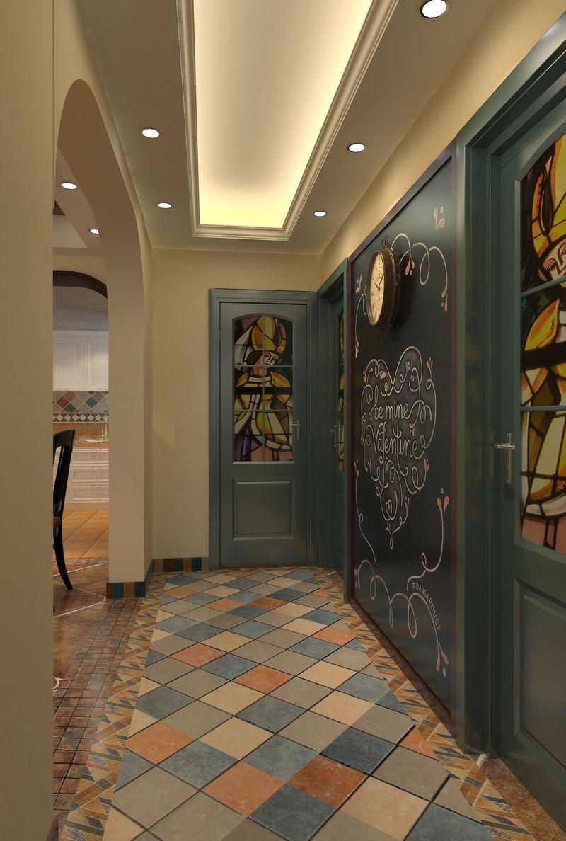 5 10万90平米美式三居室装修效果图,荣和山水绿城装修案例效果图 高清图片