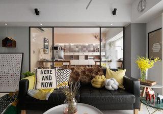 北欧风黑色皮艺双人沙发设计