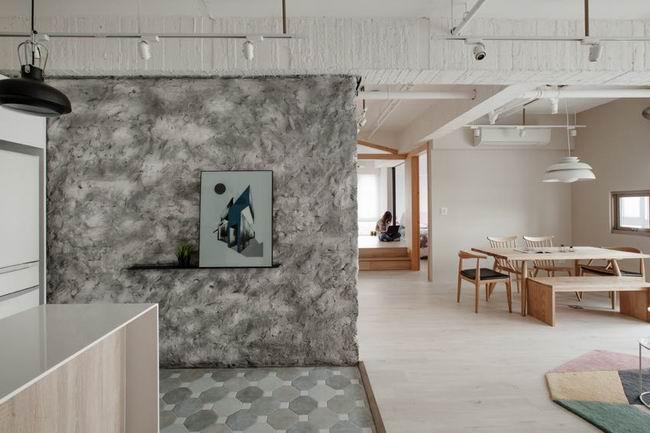 森系北欧风玄关 大理石背景墙隔断设计