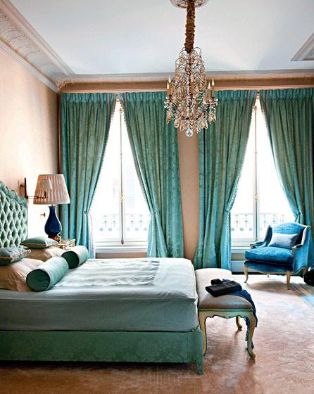 奢华法式新古典卧室 绿色窗帘效果图