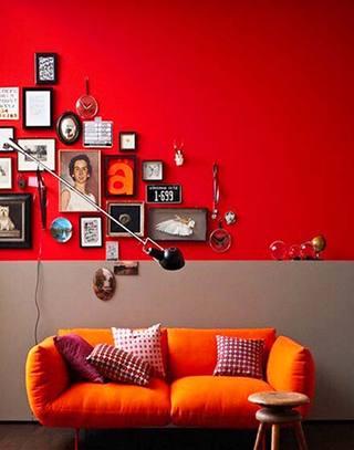 复古红色沙发背景墙装修图片