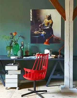 喜庆红色书房单人椅图片