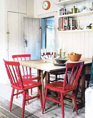 复古红色餐厅餐椅图片
