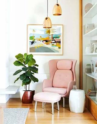 粉色清新单人沙发效果图