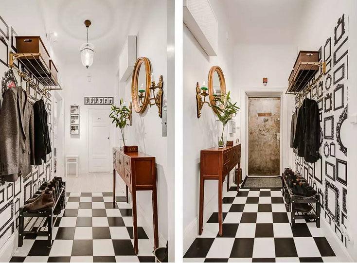 黑白格子时尚玄关装修设计