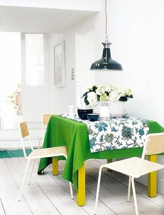 绿色餐厅桌布图片大全