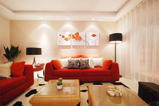 喜庆红色客厅沙发背景墙装修效果图