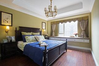 乡村美式卧室带飘窗装修效果图