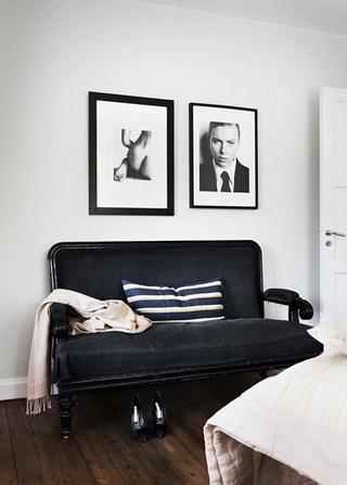 北欧风情黑色卧室沙发效果图