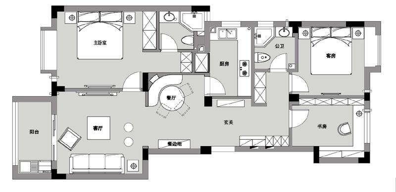三房两厅房子装修设计图