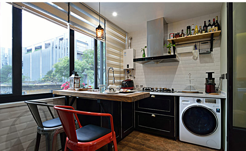 温馨简美式 阳台改厨房装修效果图