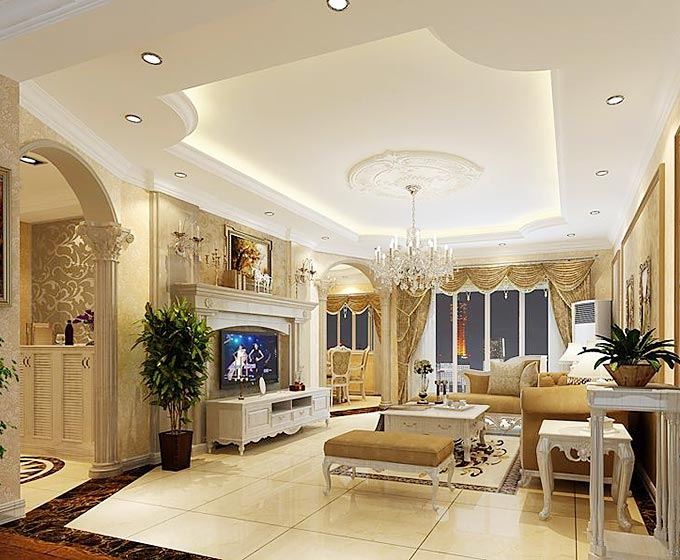 头顶新花样 10个欧式客厅吊顶设计图片图片