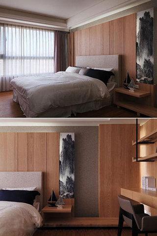 中式风格卧室木质背景墙装修效果图