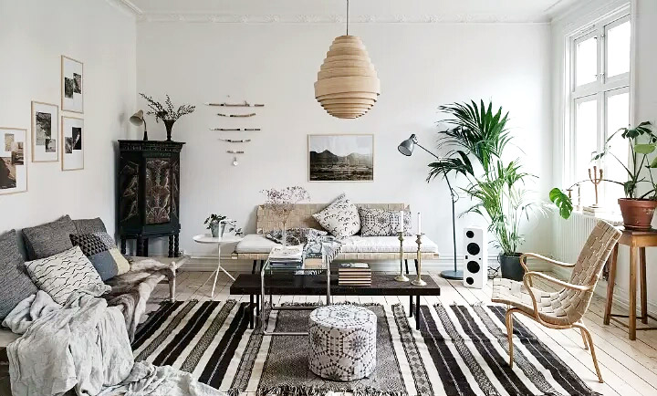85平北欧一居室客厅灯图片