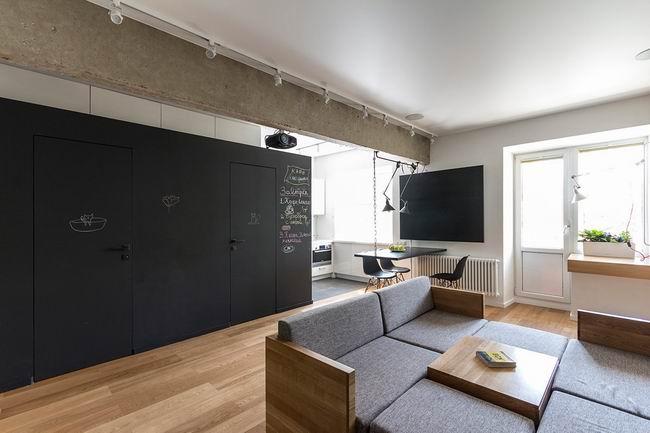 客厅沙发背景墙隐形门装修效果图