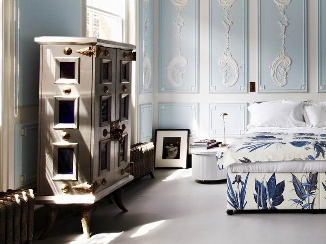 蓝白色优雅梦幻卧室装修效果图