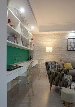 简欧风格客厅墙壁小书房装修效果图