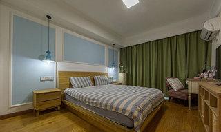 简欧风格浅蓝色卧室背景墙装修效果图
