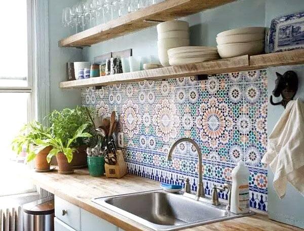 民族风厨房瓷砖背景墙装修