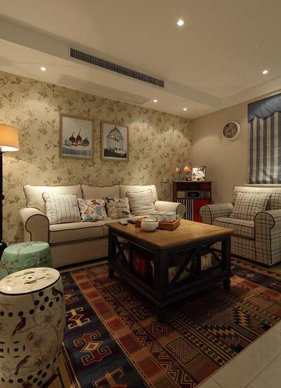 温馨客厅沙发背景墙壁纸装修图片