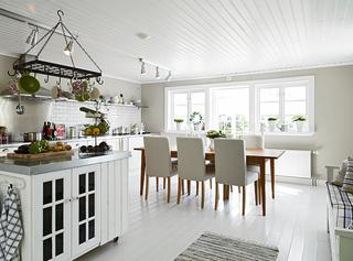 北欧风格白色厨房餐厅装修效果图