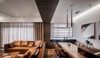 简约新中式 客餐厅吊顶效果图