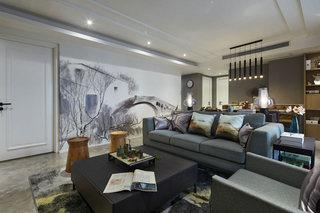 艺术新中式客厅 水墨画背景墙效果图