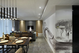 新中式客厅餐厅靠墙过道装修效果图