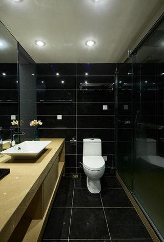 新中式黑色原木色卫生间效果图