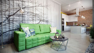 清新唯美客厅沙发背景墙装修效果图