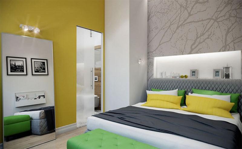 清新柠檬黄卧室背景墙装修效果图