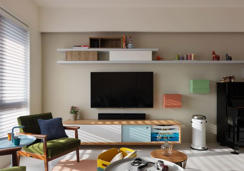 北欧风格清新色彩客厅电视背景墙装修图片