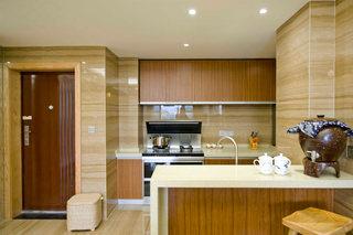 新中式棕色调开放式厨房装修效果图