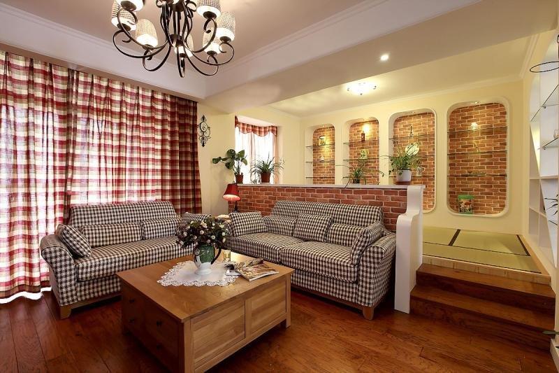 田园风格暖色调沙发背景墙装修