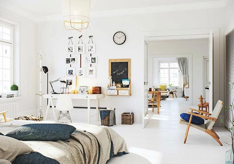 北欧风格卧室小书房装修效果图