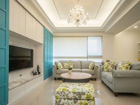 地中海风格四口之家 58平两居室装修图片