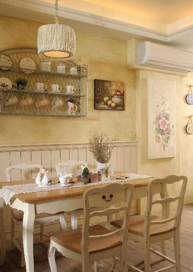 温馨法式乡村风餐厅背景墙装修效果图