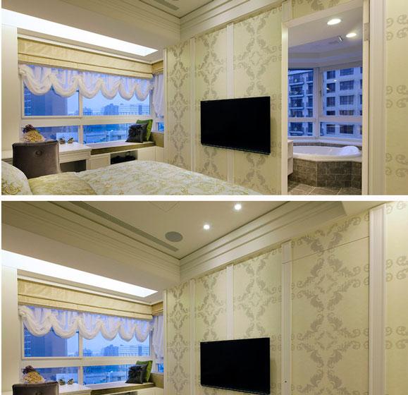 新古典卧室电视背景墙隐形门装修