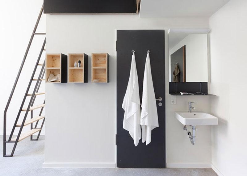 现代简约学生宿舍黑白卫生间装修效果图
