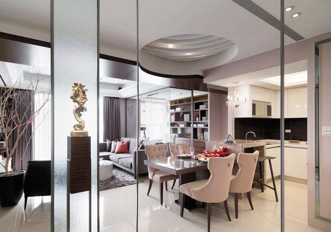 125平欧式三居餐厅吊顶设计