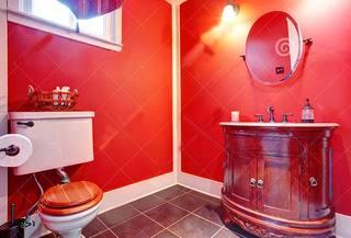 红色卫生间装修装饰效果图